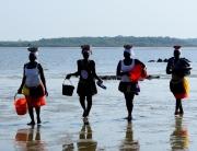 Mariscadoras en la marea baja. Isla de Orango.